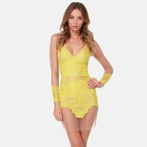 For Love and Lemons Yellow Antigua Dress